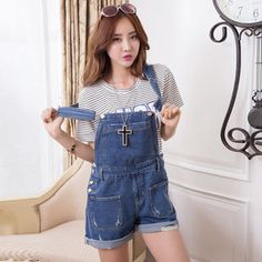 New spring and summer 2014 Korea style edge torn straps conjoined cowboy pockets shorts Women's fashion Jumpsuits & Rompers $25.99