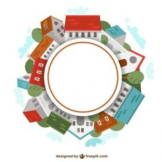 Round frame made of houses Free Vector
