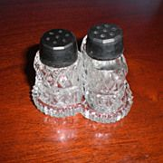 Miniature (Mini) Glass Salt and Pepper Shakers on Tray