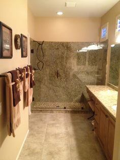 Re Bath Low Threshold Shower Base With Adara Granite Wall