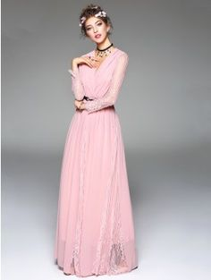 Sexy Pink Plunging Neck Lace Croched Sleeve Tie Waist Flared Party Maxi Dress