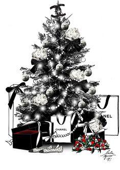 Rose Gold Christmas Decorations, Christmas Tree Themes, Christmas Love, Christmas Images, Christmas Crafts, Xmas, Christmas Illustration, Illustration Art, Megan Hess Illustration