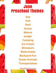 June Preschool Themes with Lesson Plans and Activities, Summer Preschool Themes, lesson plans and activities for homeschool, summer camp, daycare or summer fun at home. These June themes are perfect for preschoolers through early elementary. Preschool Monthly Themes, Daycare Themes, Preschool Learning Activities, Preschool Lessons, Ocean Activities, Daycare Rooms, Daycare Crafts, Toddler Learning, Early Learning
