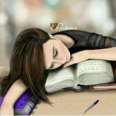 Me during exams + + #sleeping beauty# Studying girl Digital art girl Cute girl drawing