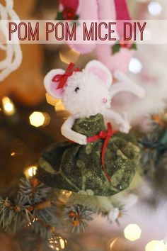 Perfect for winter break, make some of these adorable DIY pom pom mice with this easy tutorial! See more party ideas at CatchMyParty.com. #diy #craft #christmas #kids