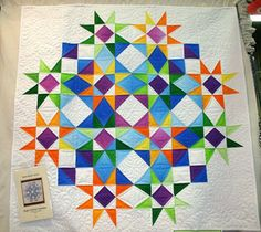 "Storm at Sea variation: Eagle Harbor Summer quilt, 42"" square, pattern by Beach Garden Quilts as seen at Clothworks"