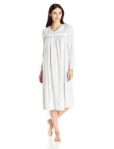 bf4dfbadf2 Aria Women s Micro Fleece Gown. Long sleeve 46 inch printed microfleece  nightgown ...