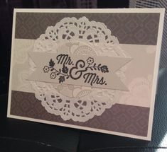 """Stampin Up """"Mr & Mrs"""" Doily Lace Pearl Paper- Wedding Handmade Card Kit- 4 cards 