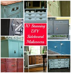 10 stunning DIY sideboard makeovers - inspiration for bedroom furniture painting! Diy Wood Projects, Furniture Projects, Furniture Makeover, Home Furniture, Bedroom Furniture, Recycled Furniture, Painted Furniture, Painted Sideboard, Primitive Bathrooms