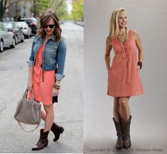 Coral dress, denim jkt,  with cowboy boots