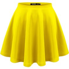 Thanth Womens Versatile Stretchy Pleated Flare Skater Skirt ($14) ❤ liked on Polyvore featuring skirts, yellow circle skirt, circle skirts, knee length pleated skirt, flare skirt and pleated skirt