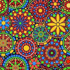 Colorful circle flower mandalas seamless pattern, vector — Stock ...
