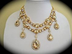 Champagne Bridal Statement  Necklace - Swarovski crystal, Draped wedding necklace, bridal necklace,  two strand  necklace on Etsy, $300.00