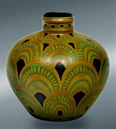 """Green and gold Art Deco vase"" by Charles Catteau who could be regarded as one of the most versatile ceramic artists of his generation, especially for the style of Art Deco. Catt..."