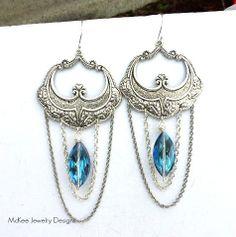 Long dangle earrings, blue crystal, sterling silver bohemian jewelry. McKee Jewelry Designs