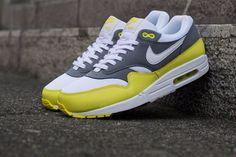 Nike Air Max 1 Essential | Cool Grey & Yellow Mens Sz 12.5 537383-111
