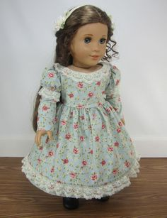18 Inch Doll Clothes for American Girl Dolls - A Day Dress and Hairpiece for Marie-Grace, Cecile, or Addy. $38.50, via Etsy.