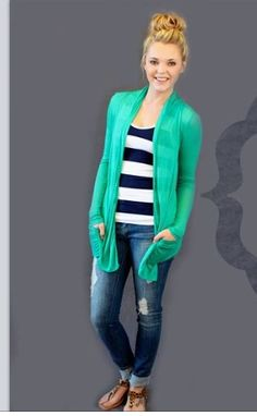 Cute simple spring outfit. lane bryant just got a mint cardi thing like this