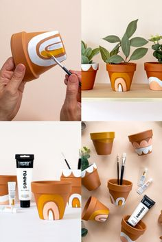 Try painting some mini Terracotta Pots, to make a wonderful gift for a loved one, or a sweet display for your home Painted Plant Pots, Painted Flower Pots, Diy Home Crafts, Cute Crafts, Vasos Vintage, Creation Deco, Pottery Painting, Terracotta Pots, Plant Decor
