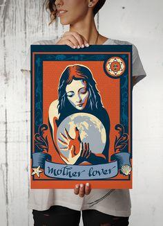 """Autorski plakat przedstawiający kobietę przytulającą kulę ziemską. W dolnej części widnieje tekst """"I am a Mother Lover"""".  Drukowany za pomocą ekologicznych, bezwonnych tuszy pigmentowych EPSON Ultra K3 Ink. Wydrukowany na papierze  fotograficznym Tecco Matt dającym gwarancję głębokich czerni i nas ... Home Art, Art Gallery, Art Prints, Posters, Design, Poster, Art Impressions, Art Museum"""
