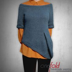 interesting knitted green sweater and orange shirt combination V Collection, Bell Sleeves, Bell Sleeve Top, Orange Shirt, Green Sweater, Lana, Knitwear, Tunic Tops, Pullover