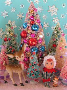 Vintage Colorful Christmas Deer