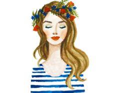 Impresión de pintura acuarela de la muchacha de flor azul corona. Labios de coral, rayas, flores. Ilustración dama, belleza, glamour, arte original de moda