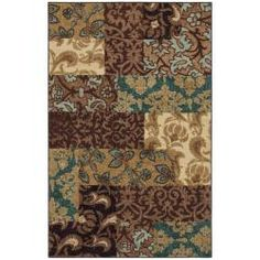 ...and the area rug we chose... @Overstock - This durable, printed nylon rug features a textured nap and versatile colors. Rich tones of brown, ivory, black, turquoise and wheat highlight this rug. 8 x 10 $222.99 (This will be a high-traffic area as it is the room you first enter so we needed something durable and DARK.)