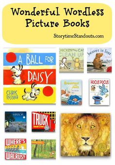 Help a child with comprehension, story retelling, language development.  A wonderful selection of wordless picture books including detailed descriptions and suggested audience.  #picturebooks #wordlesspicturebooks
