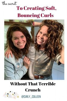 How to get soft, bouncing curls without that terrible crunch! How to get soft, bouncing curls Damp Hair Styles, Curly Hair Styles, Natural Hair Styles, Curly Hair Tips, Curly Hair Care, Soft Curls, Natural Curls, Wavey Hair, Natural Hair Shampoo