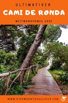 """Wandern an der Costa Brava. Erkunde die nordöstliche Küste Spaniens zu Fuß! Der Weitwanderweg an der spanischen Costa Brava wird als GR 92 bezeichnet. Der 220 km lange Weg startet im kleinen Örtchen Portbou, welches an der spanisch-französischen Grenze liegt, und verläuft bis zur bekannten Partystadt Lloret de Mar. Die Costa Brava (span. """"Wilde Küste"""") zeigt sich dabei von ihrer besten Seite. Wir finden der schönste Weitwanderweg Europas! #hike #spanien #costabrava Railroad Tracks, Costa, Sidewalk, Inspiration, Small Places, Europe Travel Tips, Round Trip, Biblical Inspiration, Walkways"""