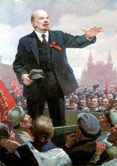 Lenin rallying the Bolsheviks