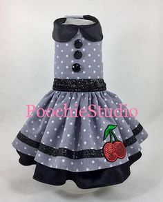 Pet Dog costume dress Grey white polka dot Pin up Rockabilly red cherries dress xxs - xl and up Cheap Dog Clothes, Large Dog Clothes, Pet Clothes, Dog Christmas Clothes, Cherry Dress, Dog Clothes Patterns, Princess Outfits, Dog Dresses, Red Glitter