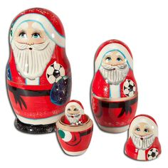"""Santa's Christmas Nesting Dolls. Santa's Christmas Nesting Dolls. A Russian tradition with a soccer and holiday theme! These hand-carved wooden nesting dolls have been individually hand-painted in Russia by traditional Russian craftsmen. Five lovely Santas each holding a soccer ball. Largest is 6"""" tall; smallest is 1"""" tall.. Price: $34.99"""