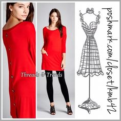 """Lipstick Red MiniTunic Dress Perfect Valentine red tunic with two front pockets and button detail. Made of rayon and spandex. Pair with a lace tunic extender for a really cute look. Size S, M, L.                                    Long sleeve.                                                   Small Bust 36"""" Length 31"""" Medium Bust 38"""" length 32"""" Large Bust 40"""" Length 33"""" Threads & Trends Dresses"""