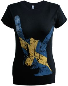 Ladies Horns Hand Sweden T-Shirt (Black). Sizes S-2XL. Buy now from our SCM Facebook store.