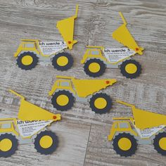 """Invitation cards matching the motto """"Construction site"""". The favorite vehicle of my little one are tipping trucks. Plotterfile Drumtruck ausm Silhouette Store Fonts """"Kindergarten"""" and """"Bimini"""" Party Invitations Kids, Invitation Cards, Construction Birthday Invitations, Birthday Box, Birthday Cards, Silhouette Store, Construction Party, Kids Cards, Crafts For Kids"""
