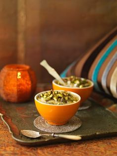 Rice pudding flavoured with orange and pistachios (Morocco)