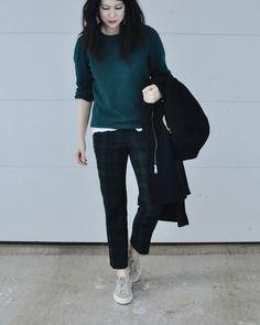 Coat: H&M ( here ) // Sweater: vintage (similar here  or here ) // Tee: Madewell ( here ) // Pants: J.Crew ( here ) // Earrings:...