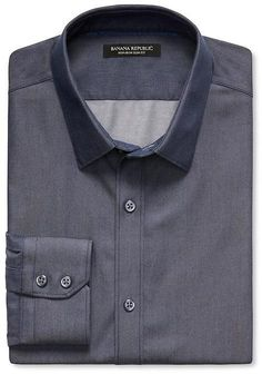 $65, Navy Chambray Long Sleeve Shirt: Banana Republic Slim Fit Non Iron Dark Chambray Shirt. Sold by Banana Republic. Click for more info: http://lookastic.com/men/shop_items/257624/redirect