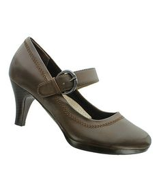 I got this Brown Helen Mary Jane by Pierre Dumas is the perfect comfort heel to wear to work! #zulilyfinds