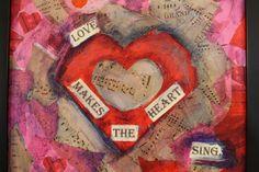 HEART COLLAGE: MIXED MEDIA ACRYLIC
