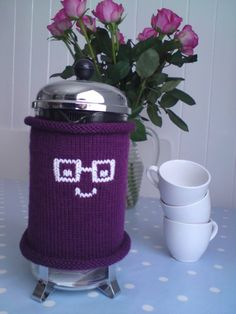 Cafetiere Cozy  French Press Cozy  Purple with Nerd by MouthyMitts