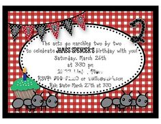 ants go marching invite, banner, cupcake toppers, food labels, etc.