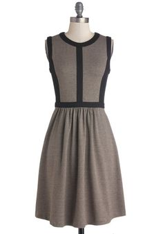 Nothin' but a Houndstooth Dress - Tan / Cream, Houndstooth, Work, Mod, A-line, Sleeveless, Mid-length, Knit, Black, Crew