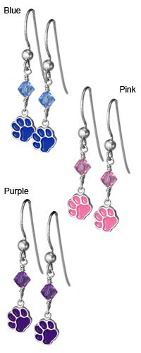 Sterling Paw & Crystal Dangle Earrings at The Animal Rescue Site
