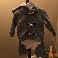 Baby 9 month 3 piece gray outfit Baby 9 month old 3 piece sweat outfit in gray. So adorable- never worn Carter Other
