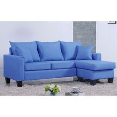 Madison Modern Linen Small Space Sectional Sofa with Reversible Chaise