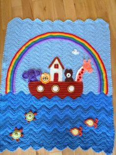Noah's Ark baby blanket. From Annie's Attic.