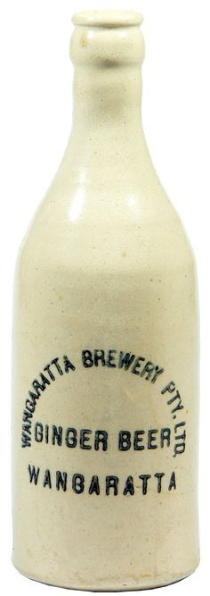 Wangaratta Brewery Ginger Beer all white stoneware ginger beer bottle. Fowler pottery. c1920s